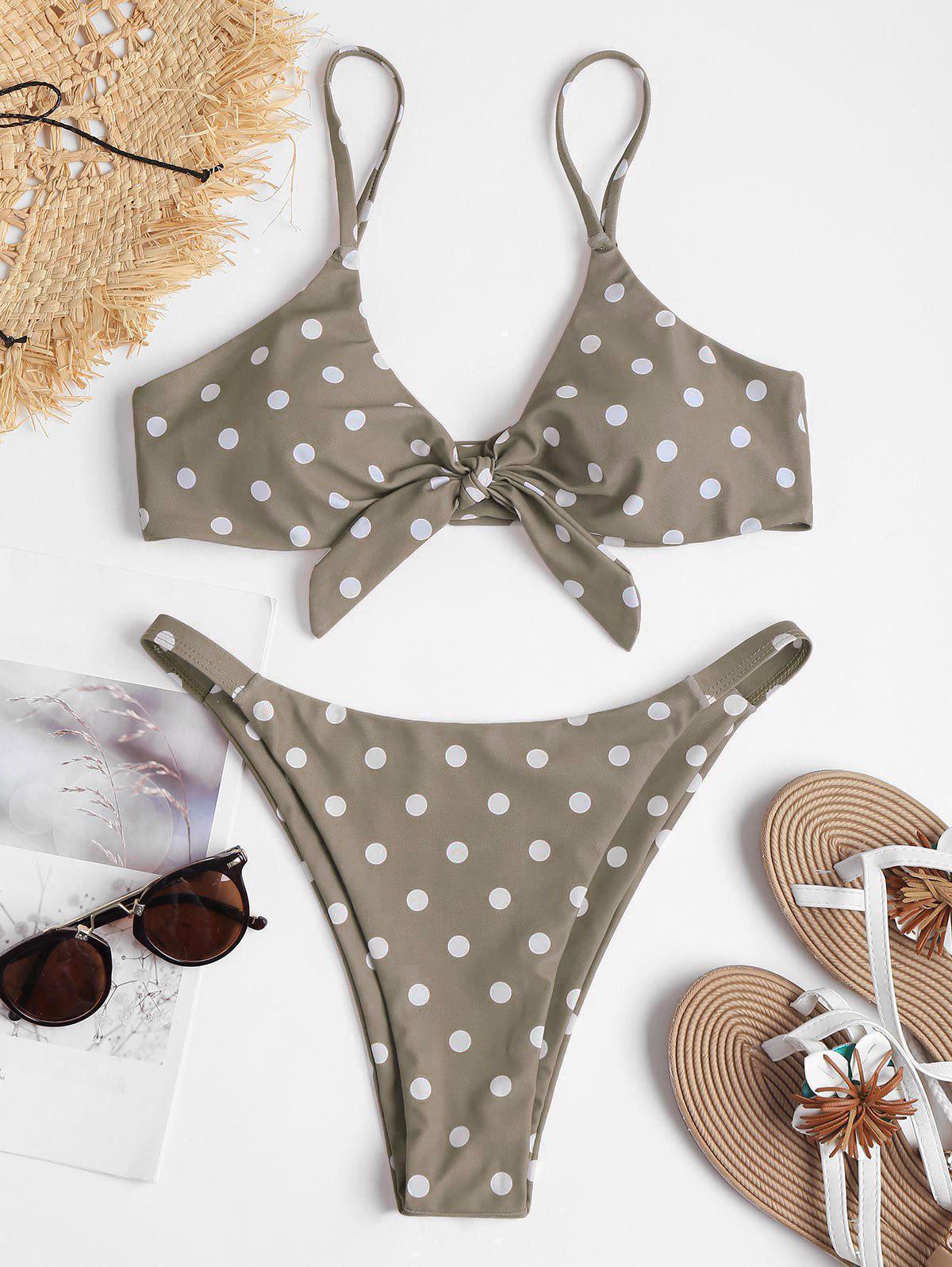 Knot Polka Dot String Bikini, Light khaki