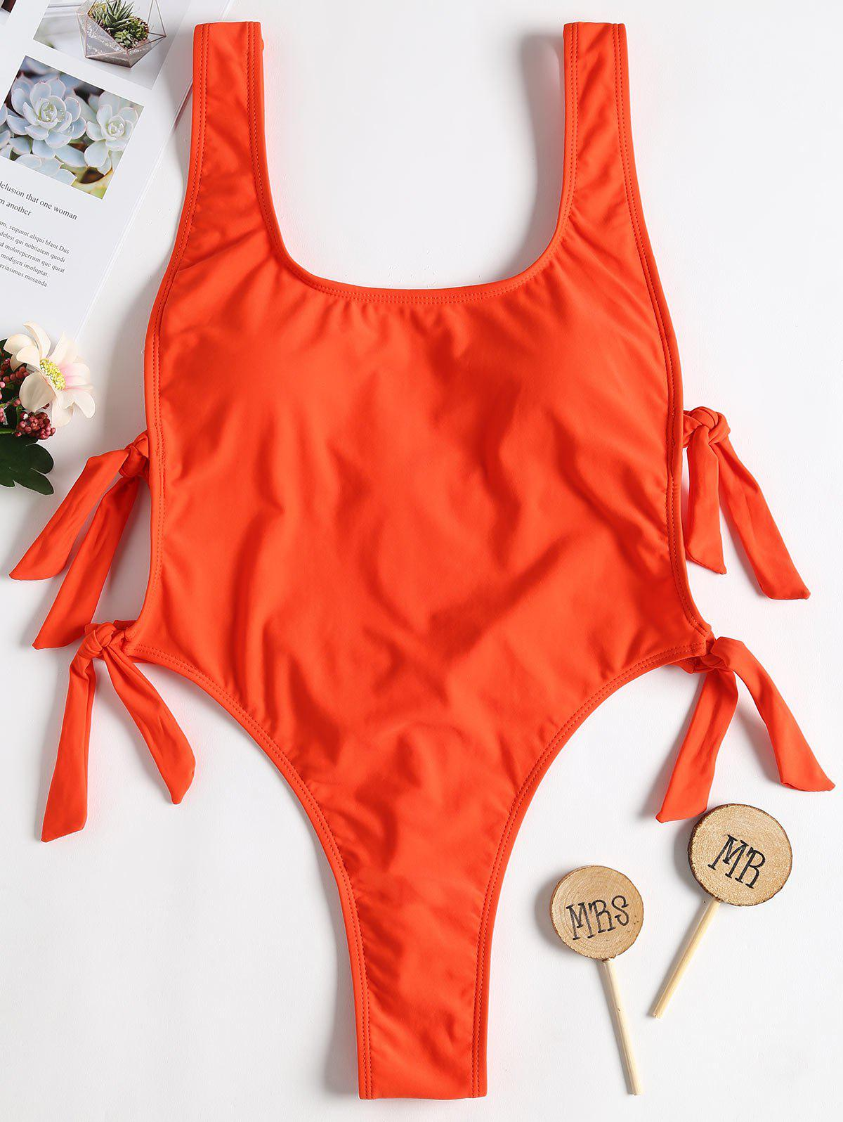 Backless Knot High Leg Swimsuit