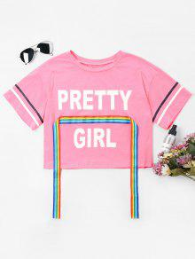 Rainbow Ribbon Print Crop Tee