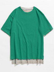 العودة مطبوعة الجبهة قصير عودة طويل القميص - البرسيم الأخضر M