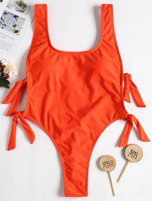 عارية الذراعين عقدة عالية الساق ملابس السباحة - برتقالية زاهية L