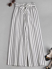 Smocked Waist Stripes بنطلون واسع الساق - أبيض Xl