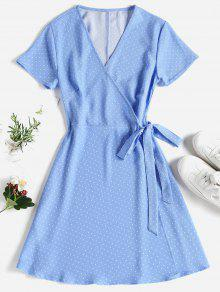 فستان قصير من بولكا دوت - السماء الزرقاء L