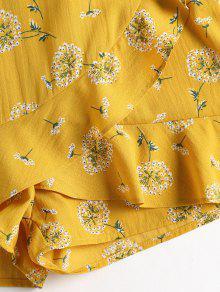 Cortos Conjunto De Hombros Florales Con Pantalones Mostaza M Descubiertos EEr7vUqw