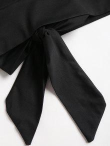 Negro Recortado Top Anudado S Recortado Top Anudado XZqfwRv