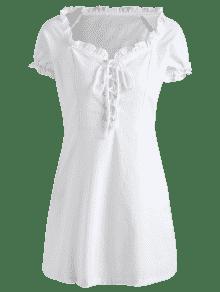 S Con Vestido Mini Volantes Blanco Encaje De d7YwnxwZ