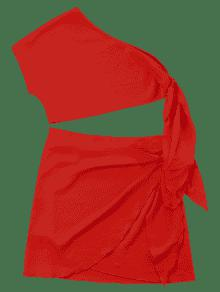 Knot Skew Collar Two Piece Dress LOVE RED Outfits M