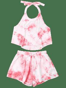 S Halter Set Rosado Shorts Tie Dye qBSwrXB
