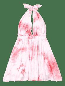 S Rosado Tie Dye Verano De Bowknot Vestido YqA4xx