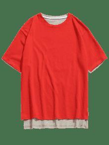 Corta Amo Espalda Rojo Estampada Espalda Delantera Xs Camiseta Larga qYzYES