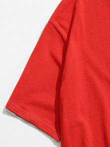 Delantera Larga Espalda Corta Camiseta Espalda Rojo Estampada Amo Xs zSq5UwAx