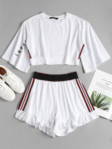 Stripe Shorts Side Suit Sporty Sweat Top Blanco M qRwtw8Zx