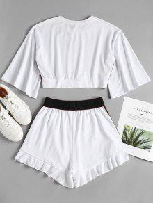 Sporty Side M Suit Sweat Blanco Stripe Top Shorts 5qrwTq7