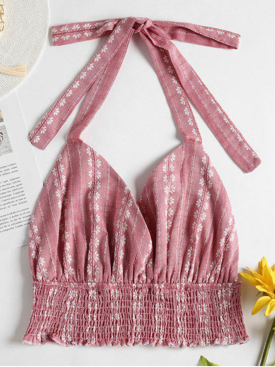 Jacquard Floral Stripe Crop Halter Top - Rosa de Porco L