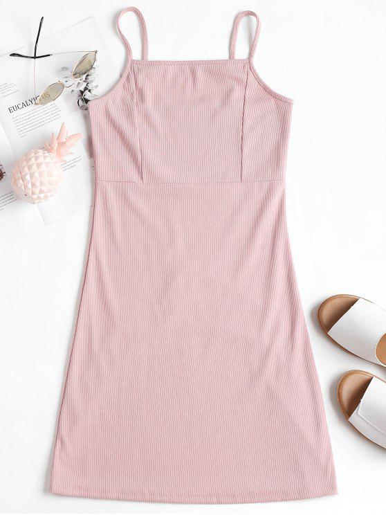 lady Cami Ribbed Mini Dress - LIGHT PINK ONE SIZE