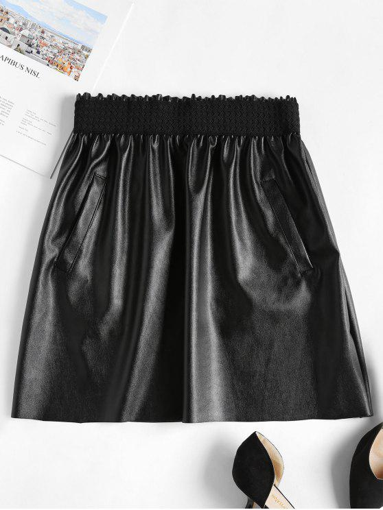Minifalda de imitación de cuero con volantes - Negro L