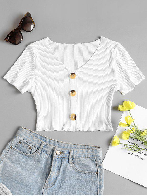 shops Buttoned Ribbed Top - WHITE L