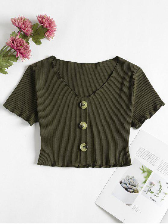 fashion Buttoned Ribbed Top - ARMY GREEN M