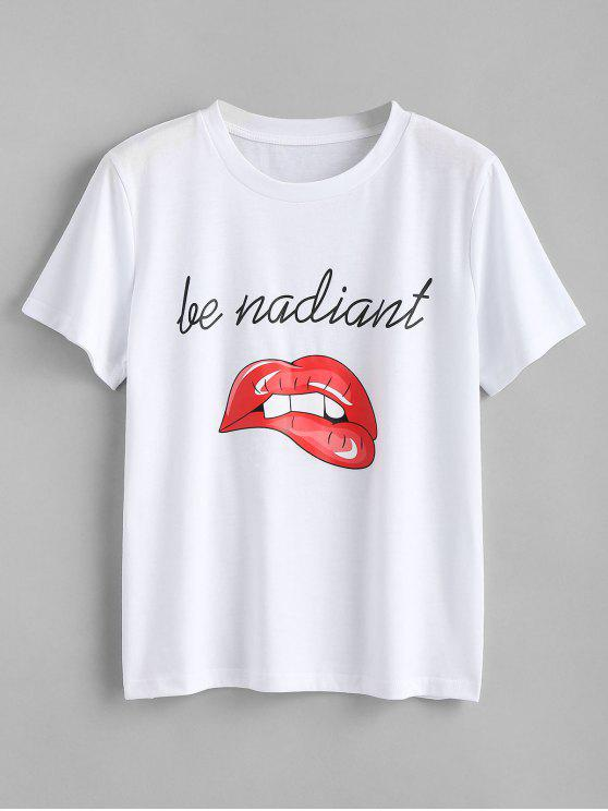 ladies Letter Lips Print T Shirt - WHITE S