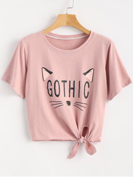 buy Knotted Cat Graphic Tee - KHAKI ROSE ONE SIZE