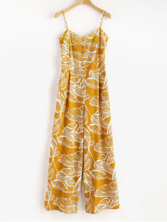 fashion Smocked Tropical Wide Leg Jumpsuit - GOLDEN BROWN S