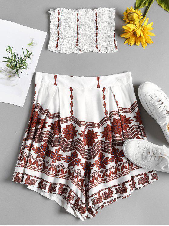 fashion Smocked Bandeau Top and Shorts Set - WHITE M