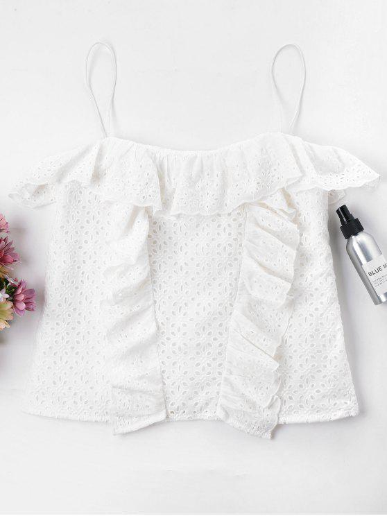 outfit Ruffles Eyelet Cami Top - WHITE XL