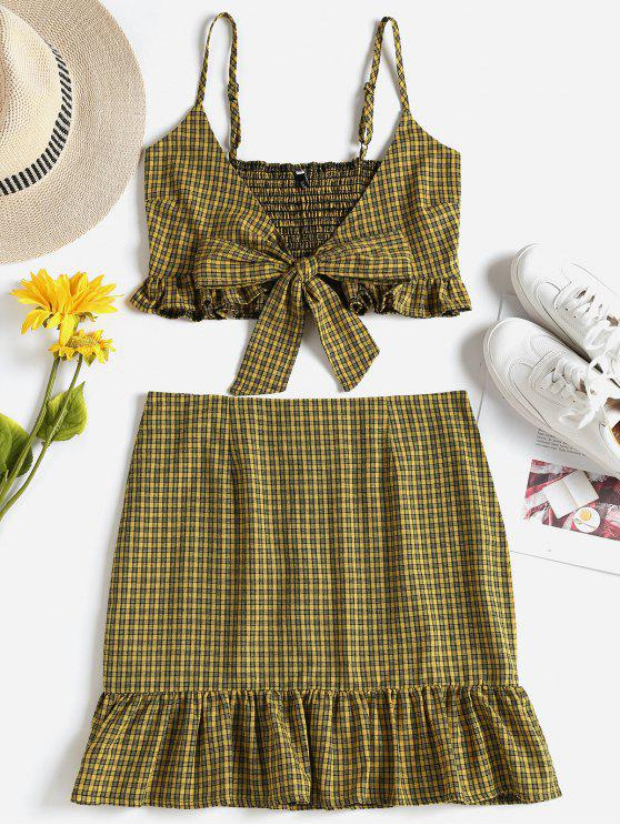 affordable Checked Tie Front Top Skirt Two Piece Set - GOLDEN BROWN M