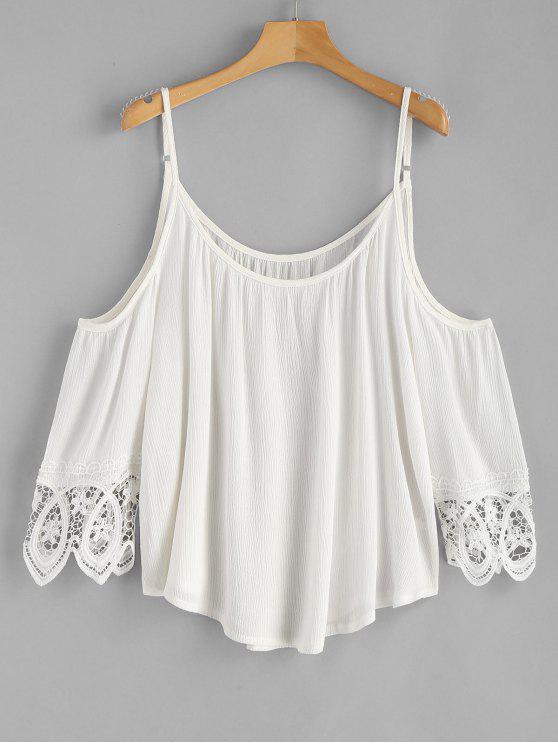 ladies Cold Shoulder Crochet Panel Top - WHITE XL