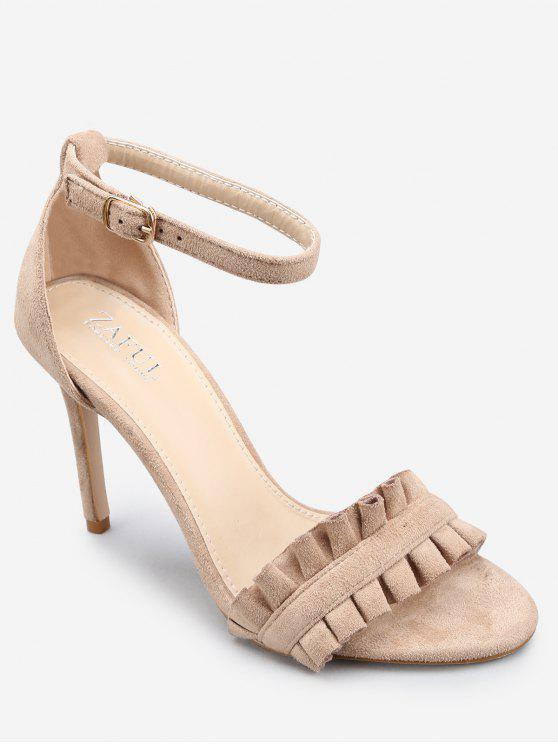 latest Ankle Strap Stiletto Heel Chic Ruffles Sandals - APRICOT 38