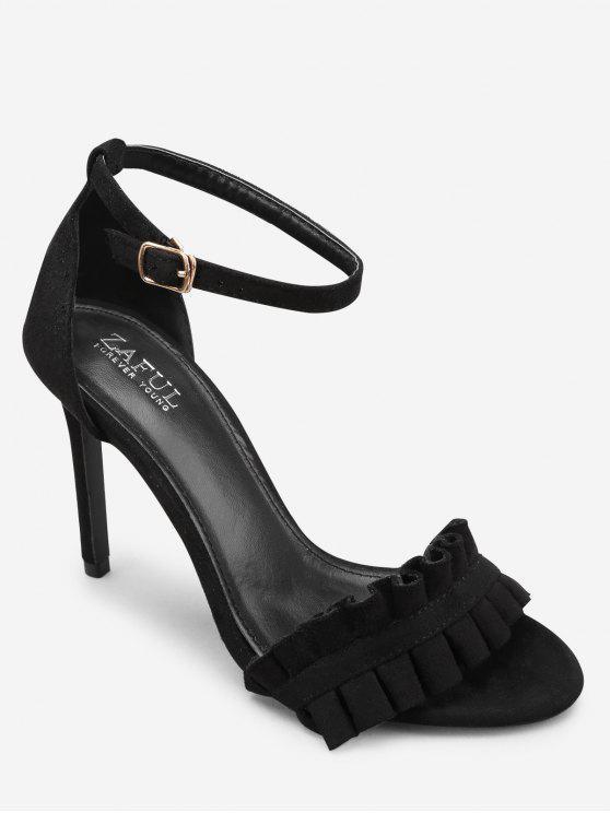sale Ankle Strap Stiletto Heel Chic Ruffles Sandals - BLACK 39