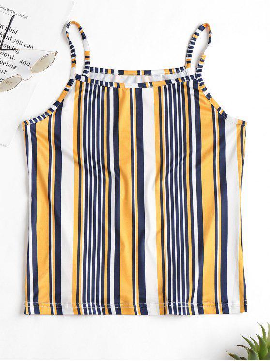 Camiseta sin mangas con rayas en contraste - Marrón Dorado S
