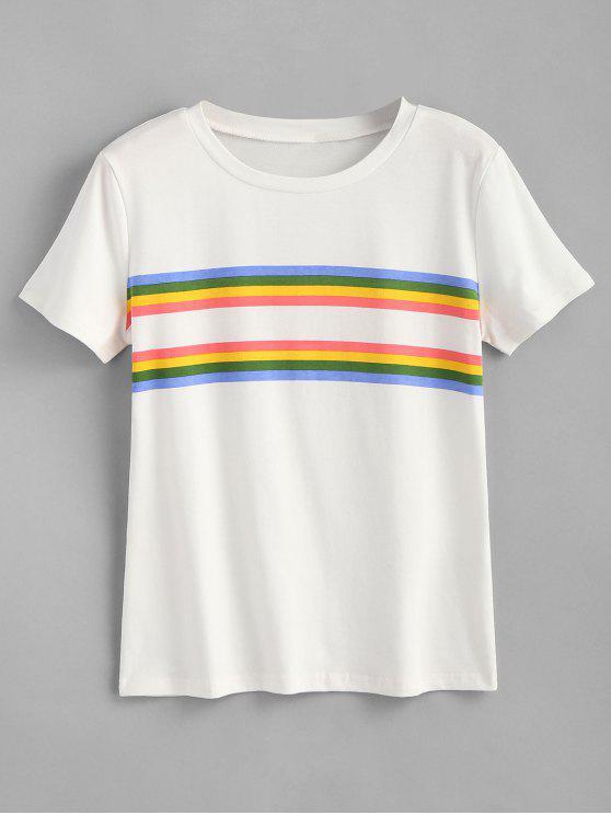 Camiseta estampada del panel de rayas - Blanco L