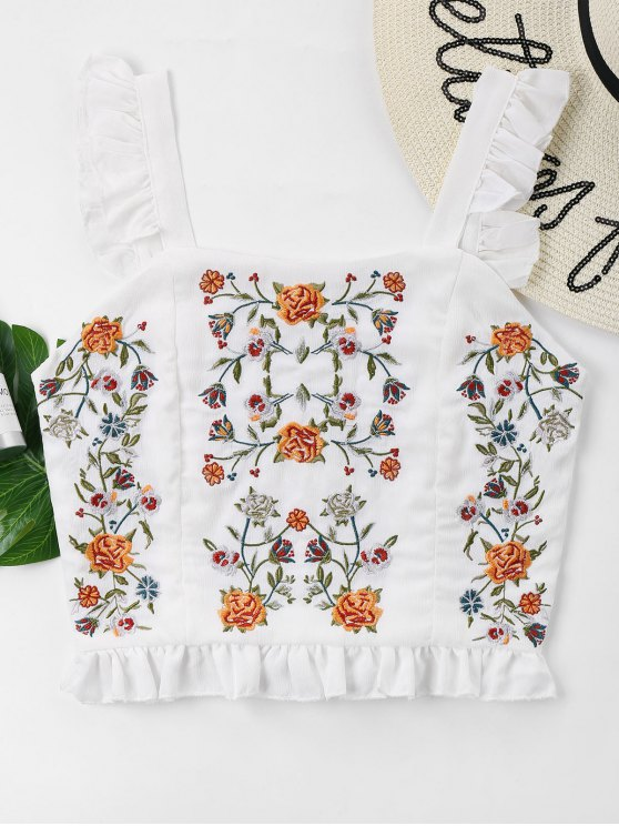 online Floral Embroidered Ruffles Tank Top - MILK WHITE L