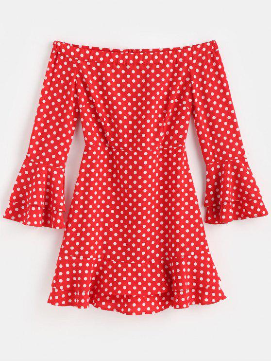 new Off The Shoulder Polka Dot Party Dress - FIRE ENGINE RED L