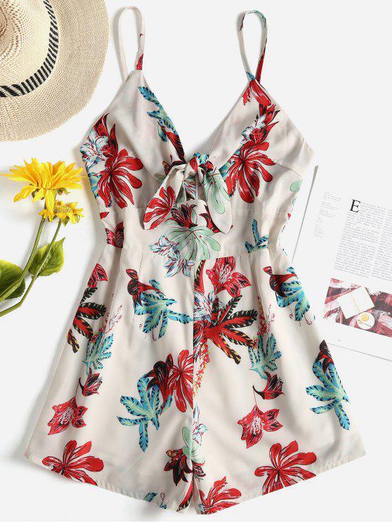 hot Floral Tie Front Cami Romper - CORNSILK L