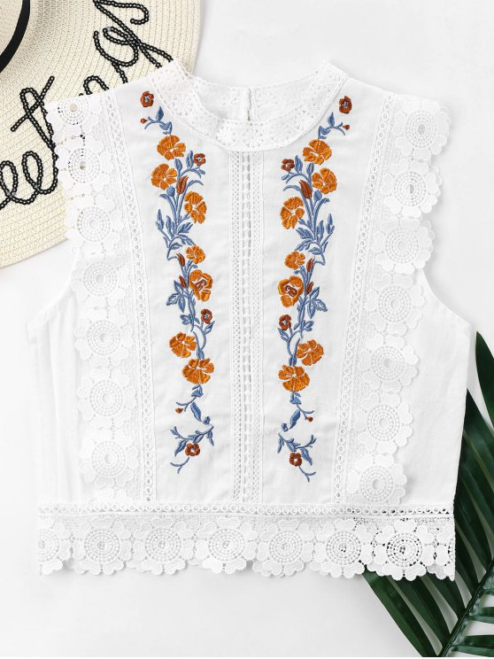 shop Floral Embroidered Lacework Blouse - WHITE L