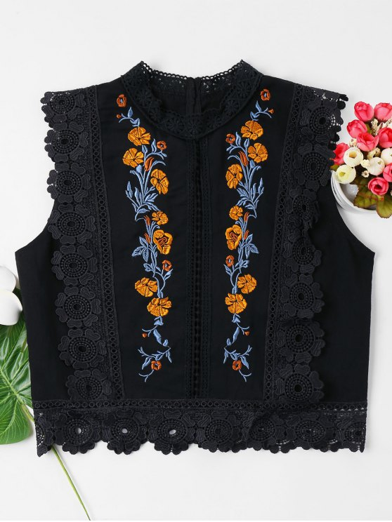 chic Floral Embroidered Lacework Blouse - BLACK XL