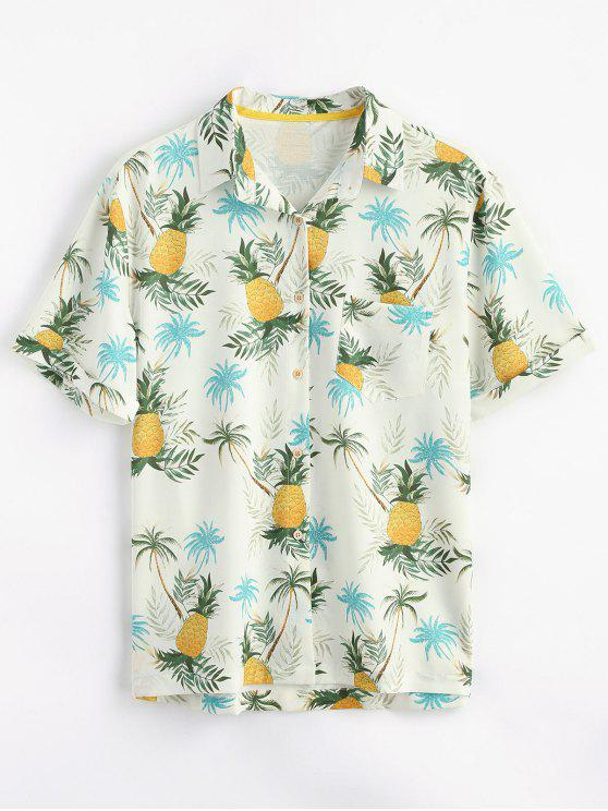 affordable Button Up Pineapple Print Pocket Shirt - YELLOW S