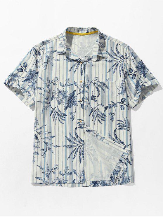 Camisa listrada da praia do bolso da cópia das folhas - Azul cobalto S