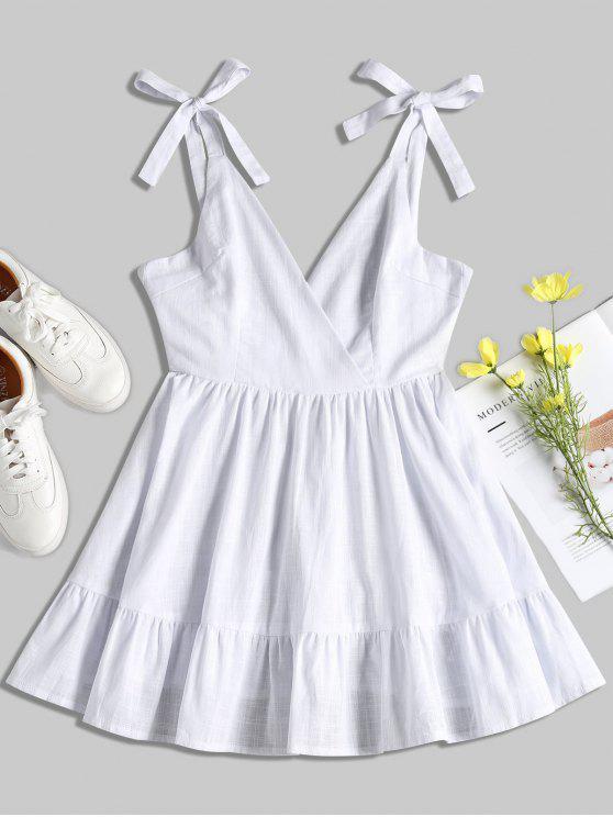 Rückenfreies Rüschen Minikleid - Weiß L