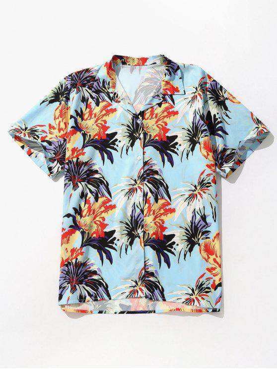 Flores Impresso Camisa de Manga Curta - Borboleta Azul 2XL