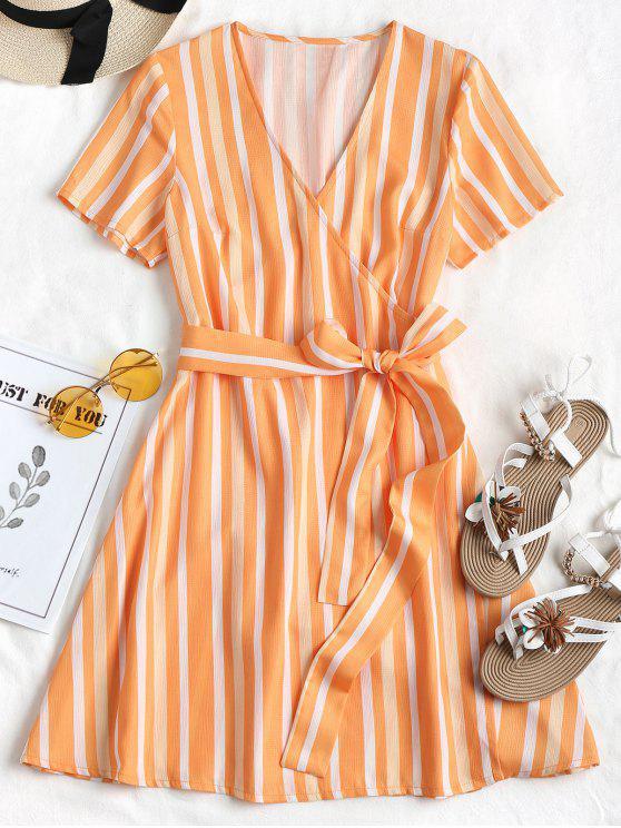sale Striped Wrap Dress - DARK ORANGE L
