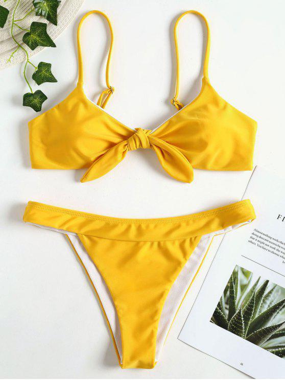 Conjunto de bikini acolchado Bowknot - Amarillo Brillante M