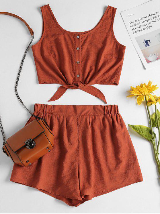 Ärmelloses Knopf Oben Crop Top Und Shorts Set - Dunkles Orange M