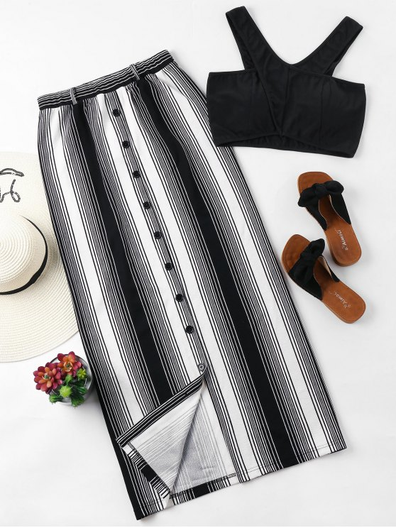 fashion Striped Button Up Skirt Set - BLACK XL