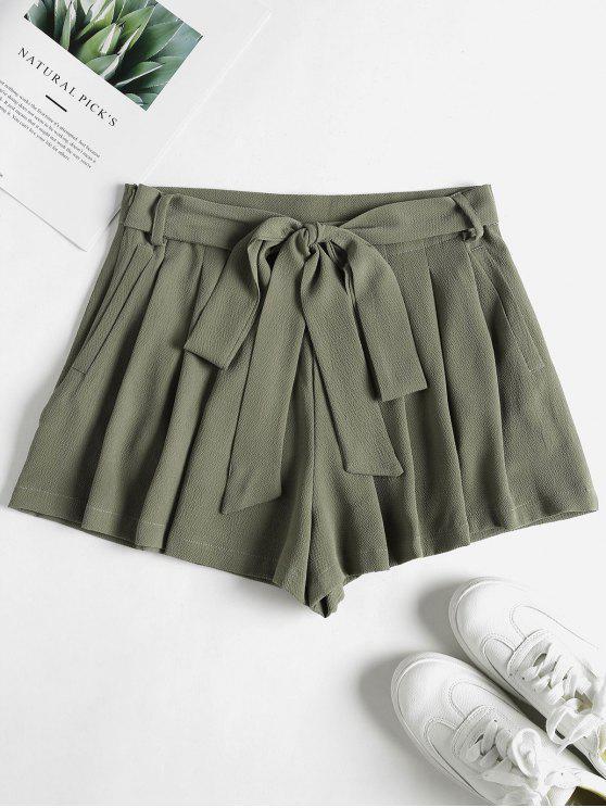 lady Pockets High Waisted Paper Bag Shorts - SAGE GREEN S