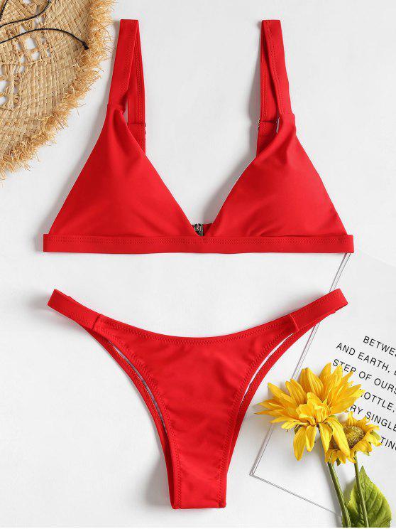 Bikini Rembourré et Col Plongeant - Rouge S