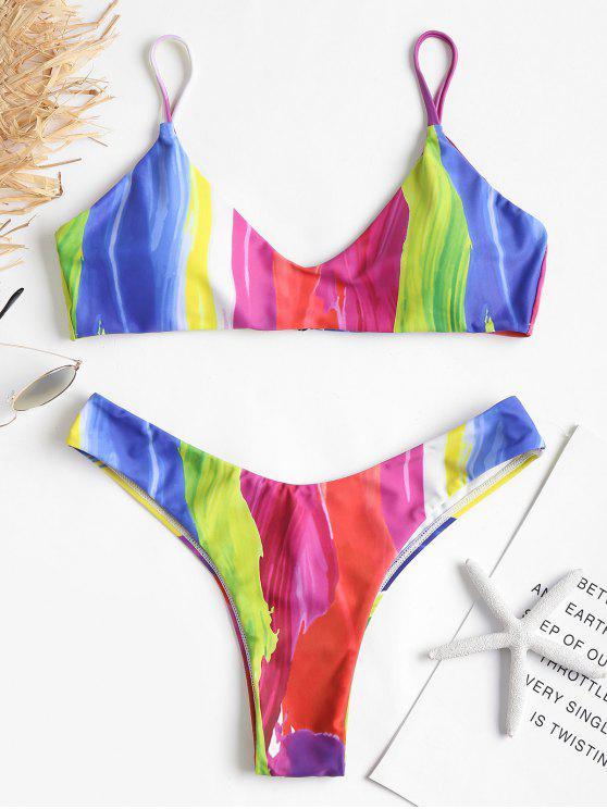 Bikini A Gamba Alta Con Stampa Di Arcobaleno - Multi Colori M