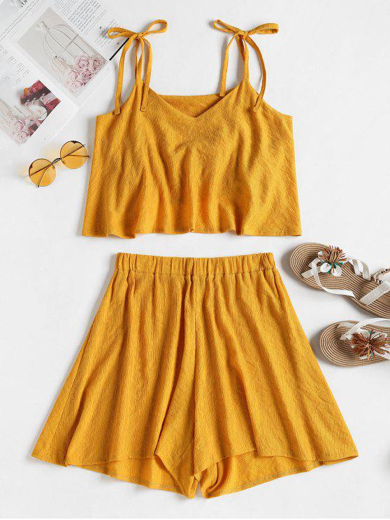 latest Tied Straps Overlay Top and Shorts Set - GOLDEN BROWN M